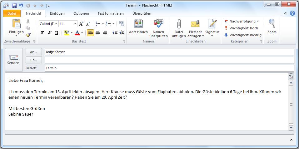 Einen Brief Oder Eine E Mail Schreiben Deutsch Jeden Tag